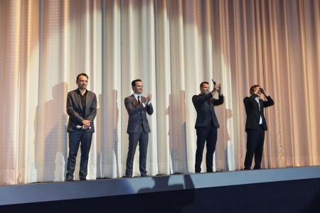 Regisseur Mattew Warchus,  Hauptdarsteller Andrew Scott und Drehbuchautor Stephen Beresford (v.l.) bei der Premiere von PRIDE im Cinemaxx am Dammtor